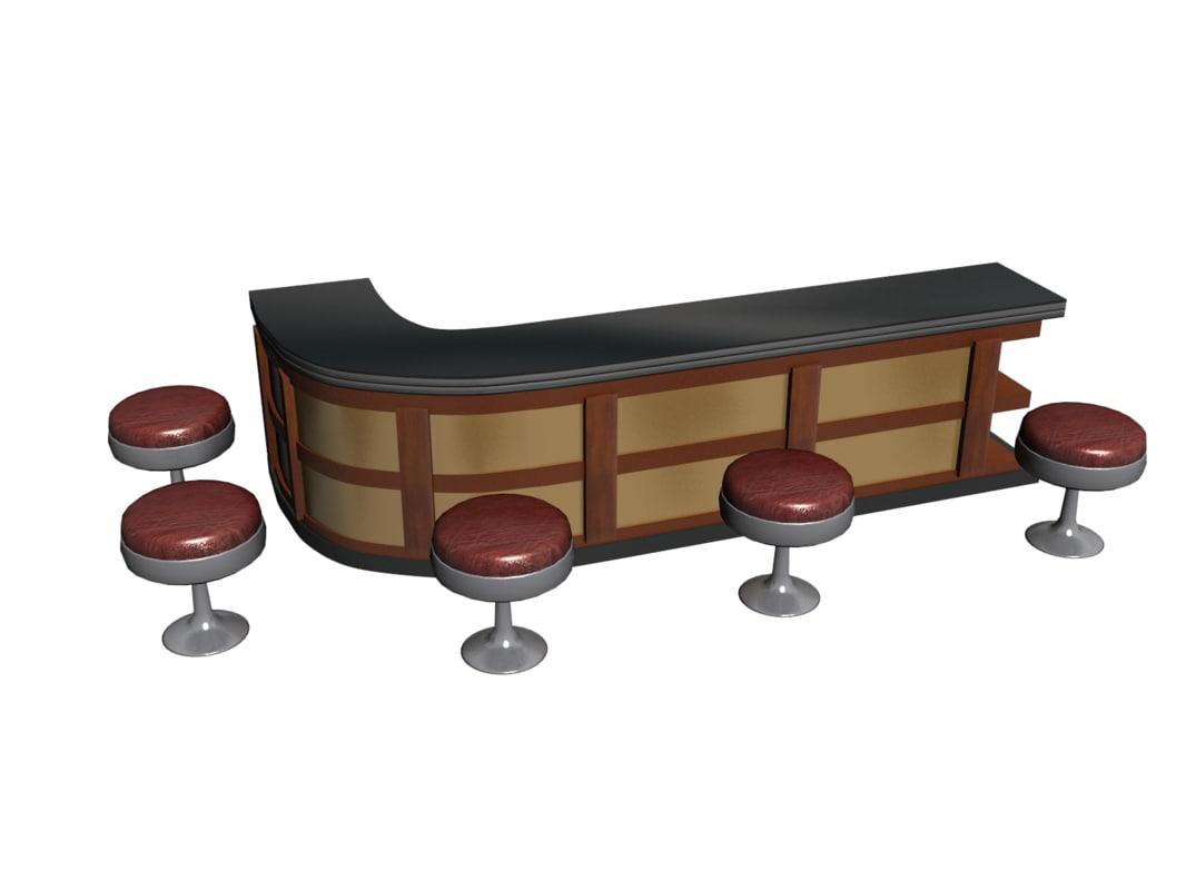 free bar chairs 3d model