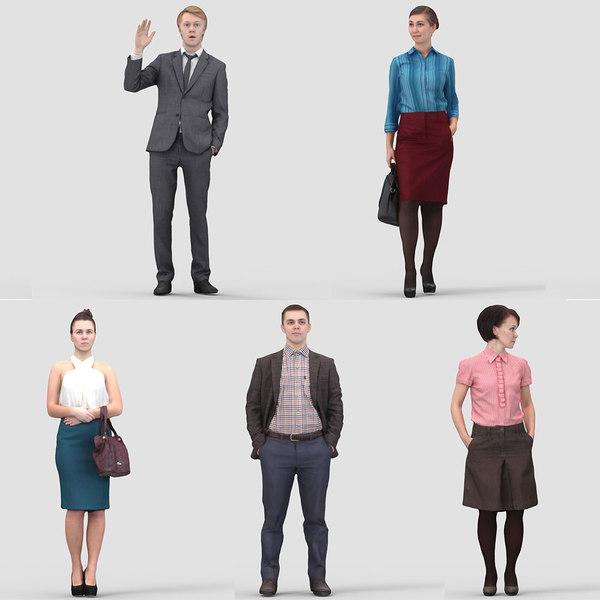 3d realistic business humans model