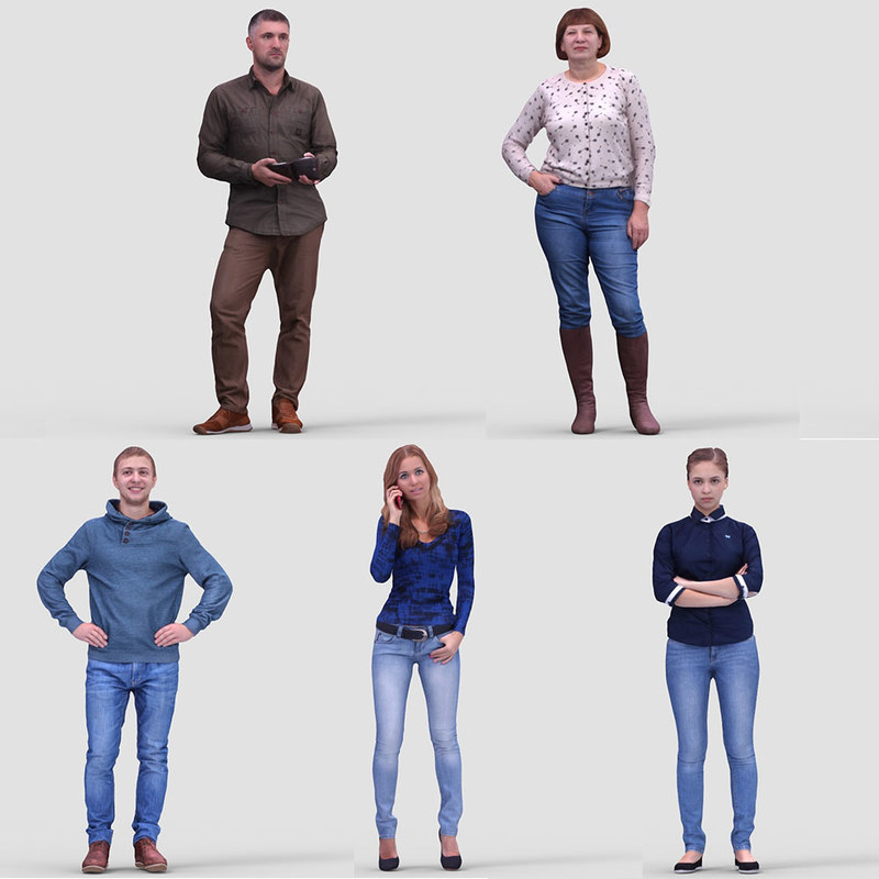 3d model realistic casual humans