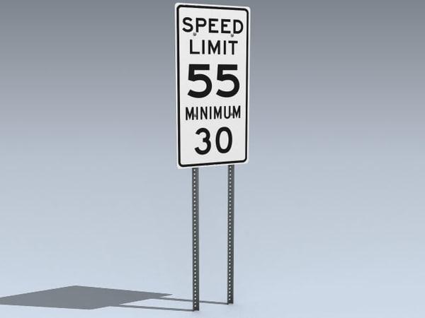 speed limit sign 3d 3ds