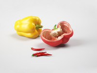Photorealistic model of peppers