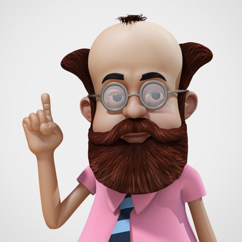 3d cartoon professor character rig