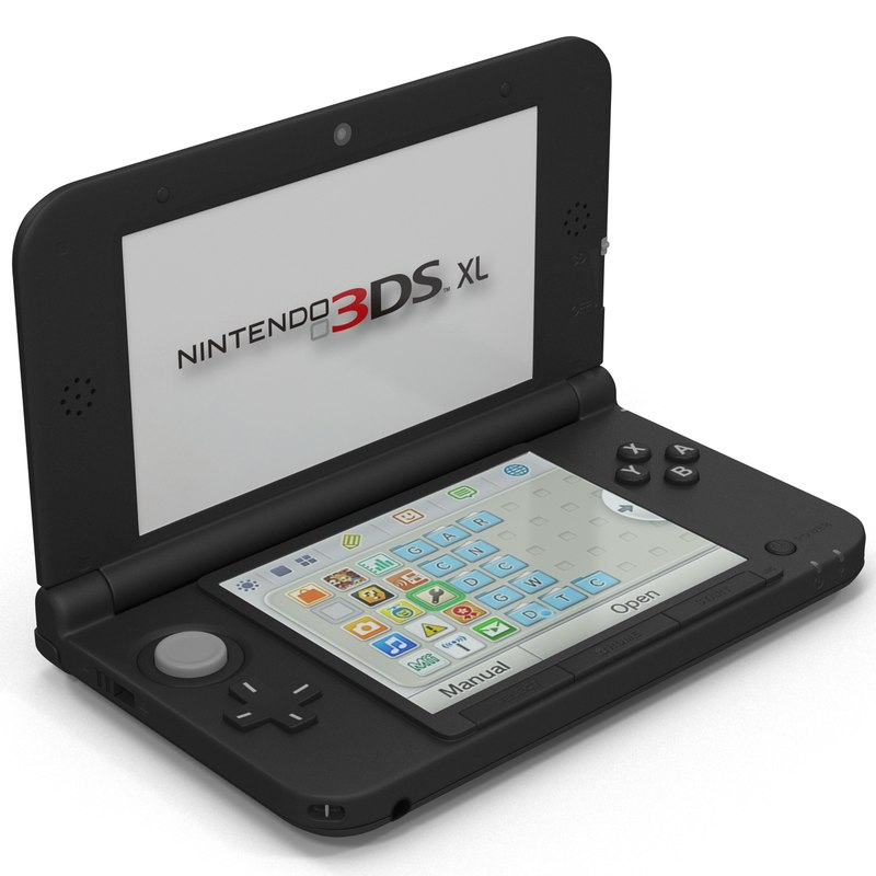 3d model nintendo xl black