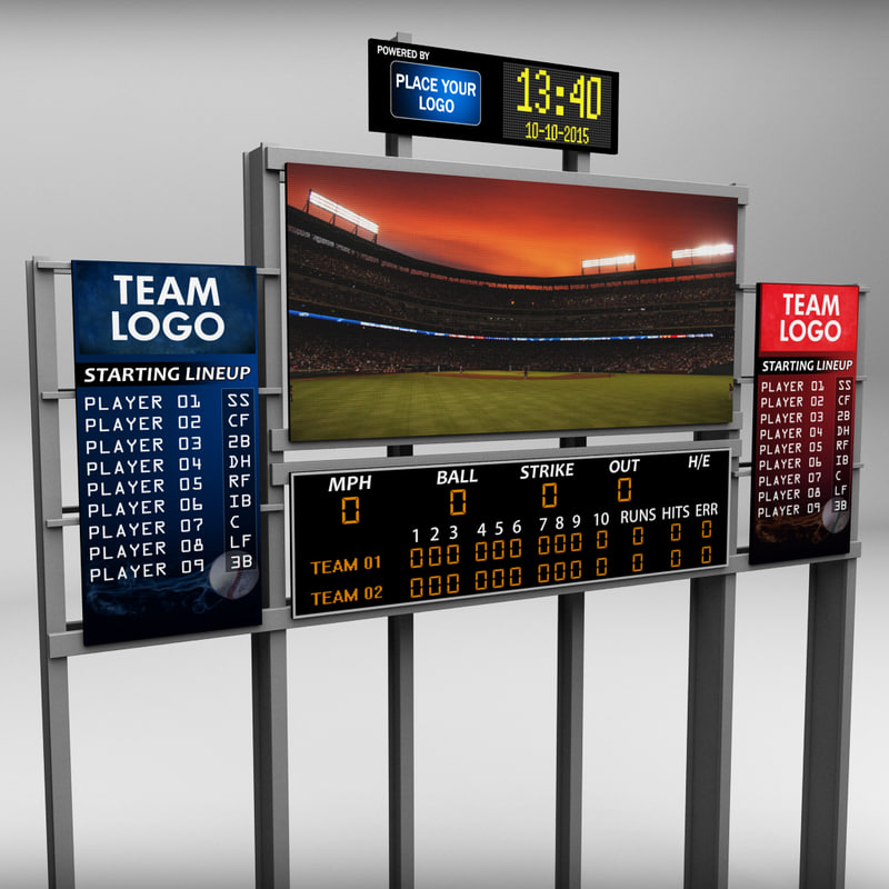 3d model stadium baseball score board