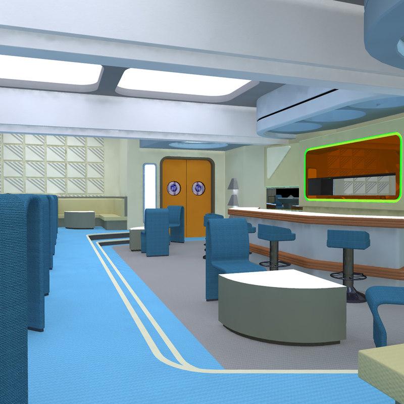 3d model starship lounge observation