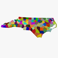 counties north carolina 3d model