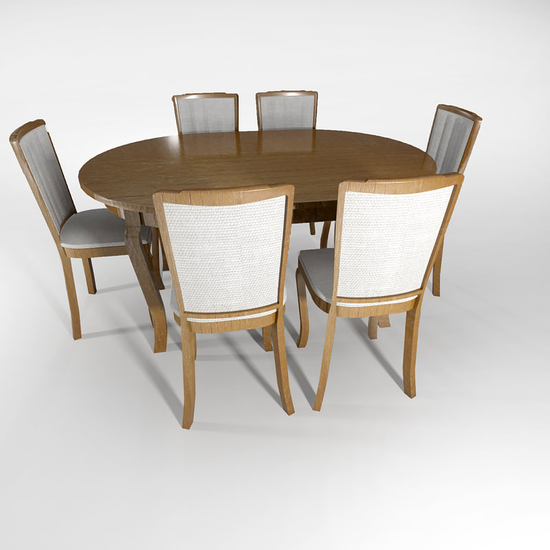 classic chair table set 3d max