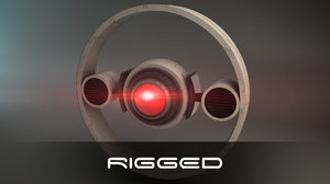 3d rigged futuristic drone model