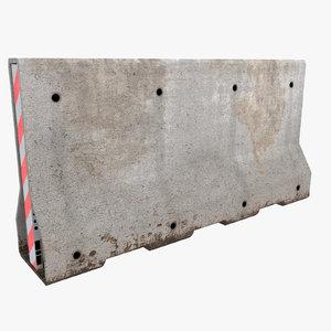 3d concrete barrier block model