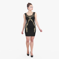 woman black dress 3d max