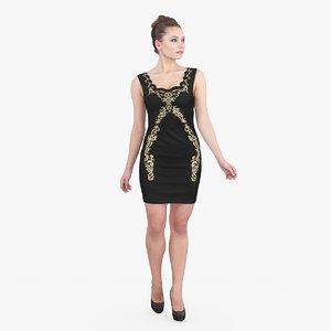 woman black dress 3d max