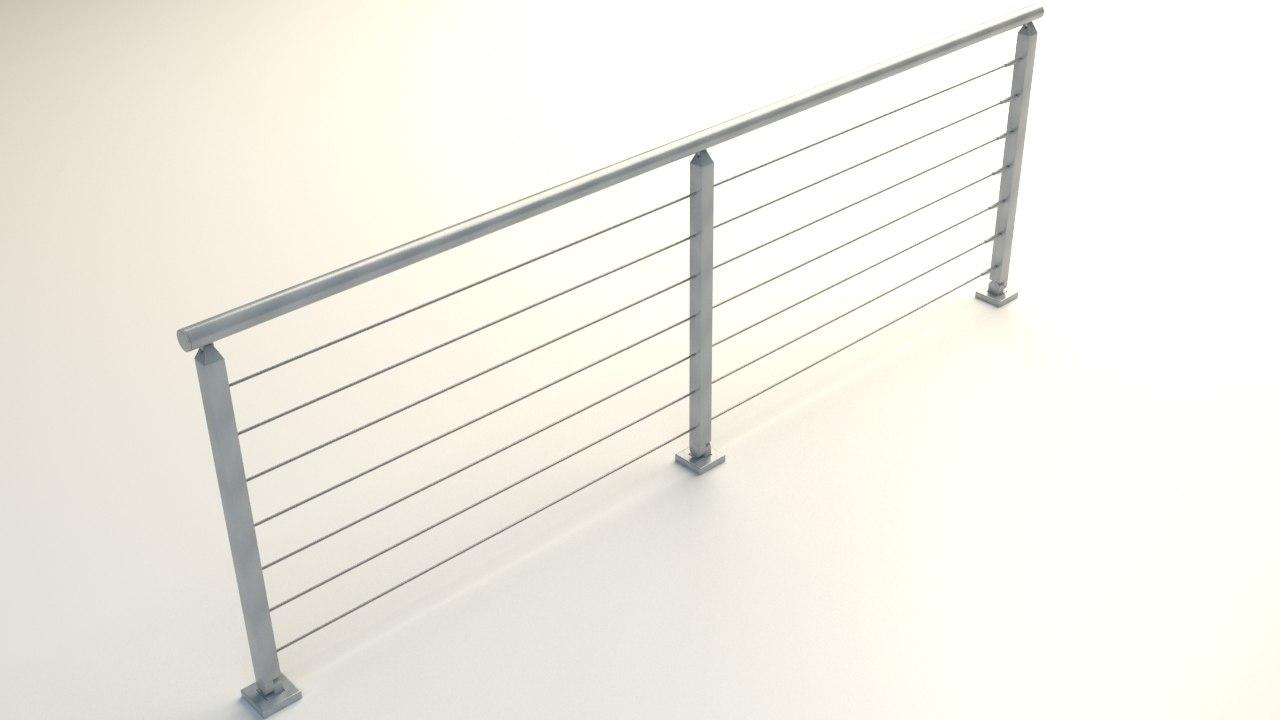 3d model of steel railing