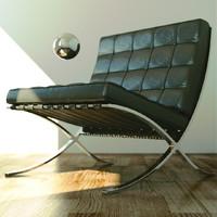 barcelona chair 3d obj