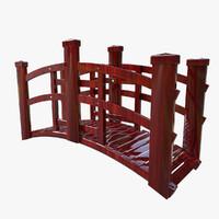 little red japan bridge 3d model