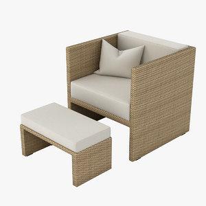 3d model of outdoor lounge armchair