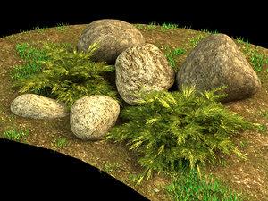 juniper stones grass 3d model