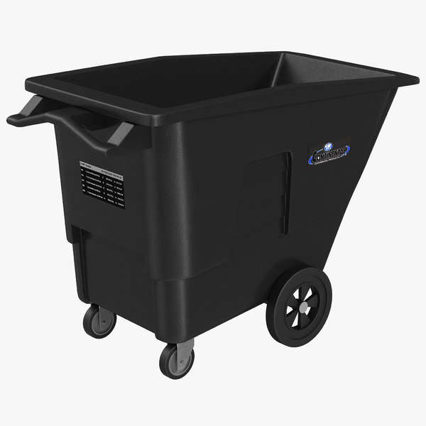 3d large rolling garbage model