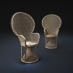 wicker-peacock-chair 3d obj