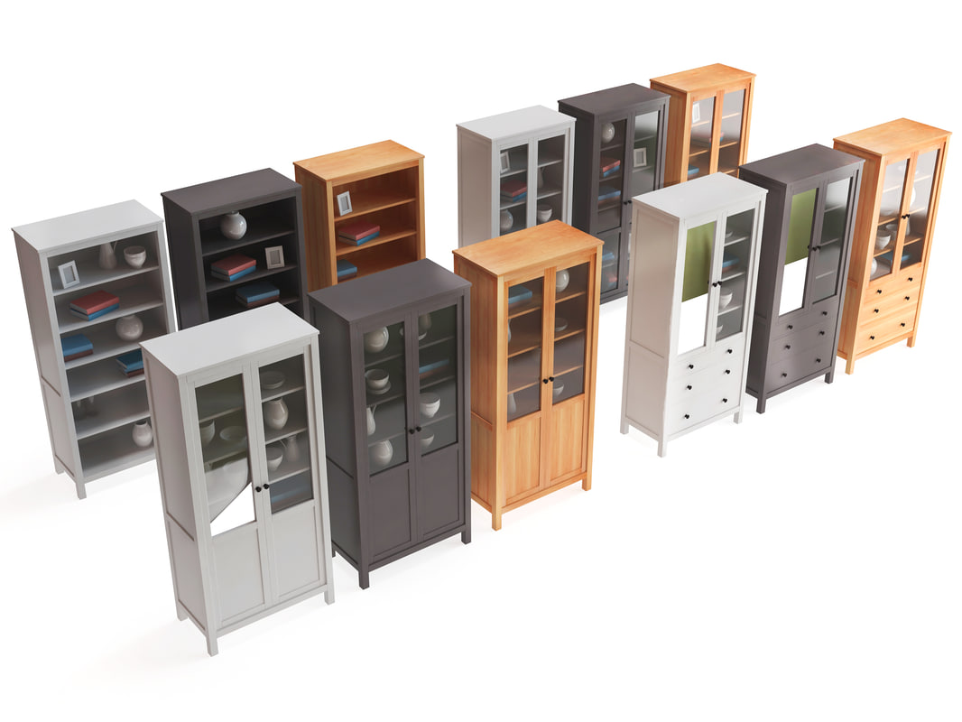 set ikea cabinet different 3d model