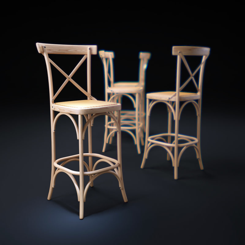 parisienne-cafe-bar-stool 3d model