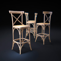 parisienne-cafe-bar-stool 3d model