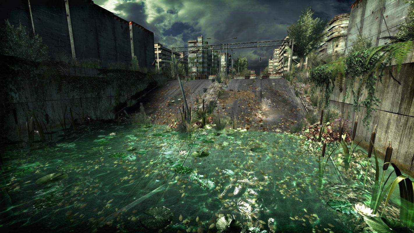 3d abandoned city district