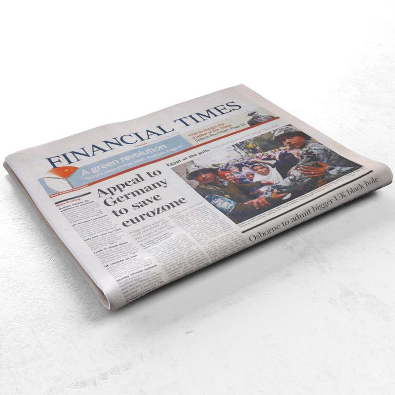 3d financial newspaper model