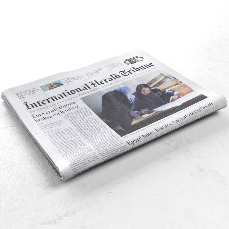 3d international herald tribune newspaper model