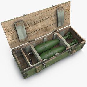 3d model ammunition box 120mm