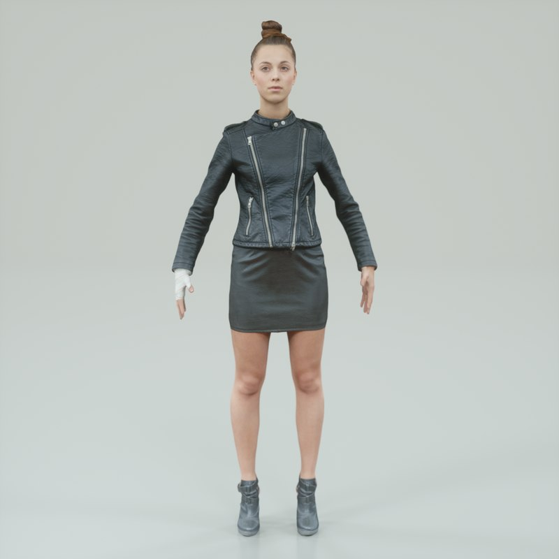 3d a-pose girl dressed black