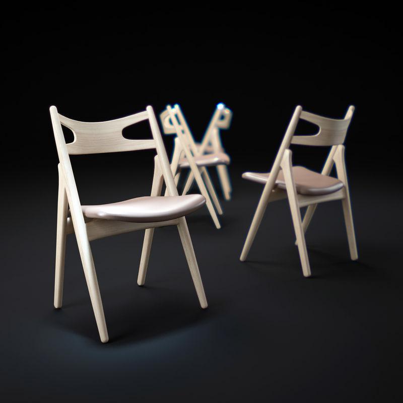 3d model ch29-sawbuck-chair