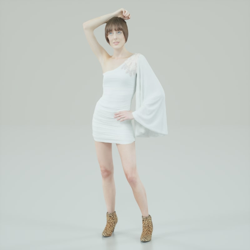 girl white dress obj