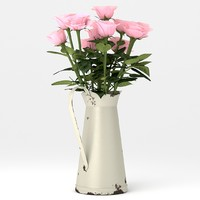 3d model of bouquet pink roses