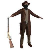 cowboy belt revolver 3d model