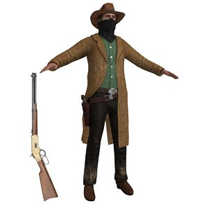 3dsmax cowboy belt revolver