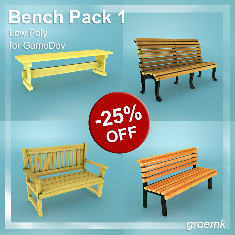 bench pack 1 3d 3ds