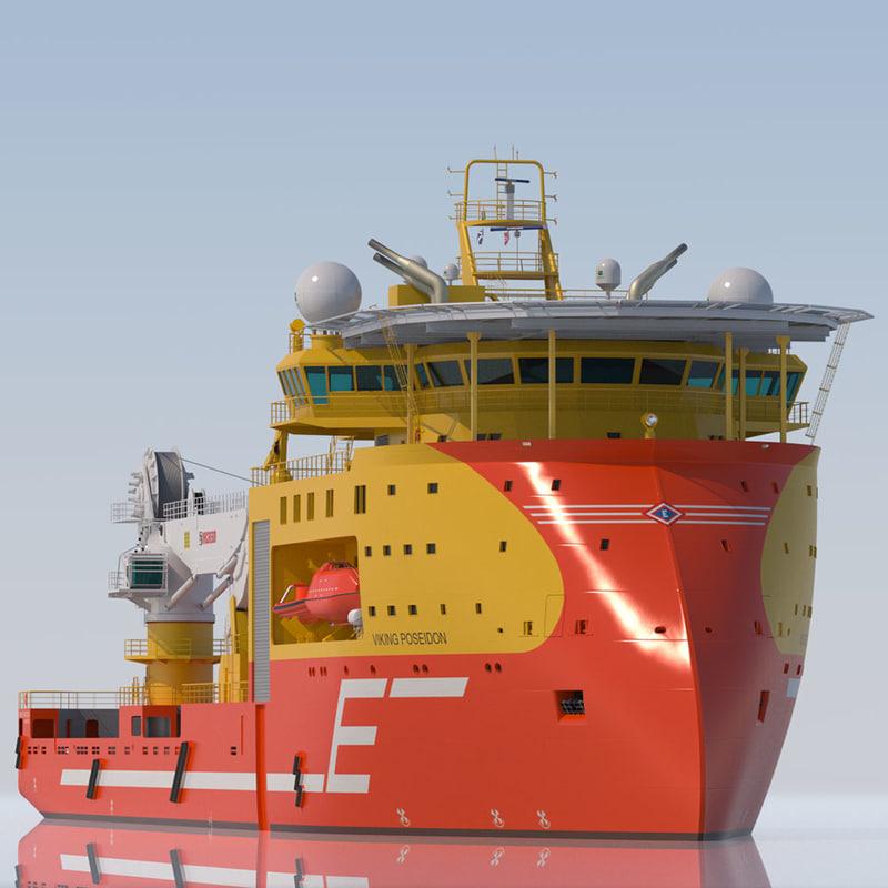 offshore construction vessel 3d obj