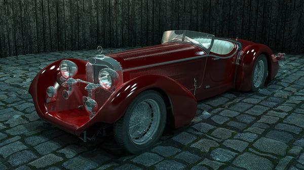 3d mercedes-benz ss roadster model