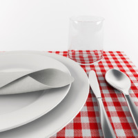 3d tableware set model
