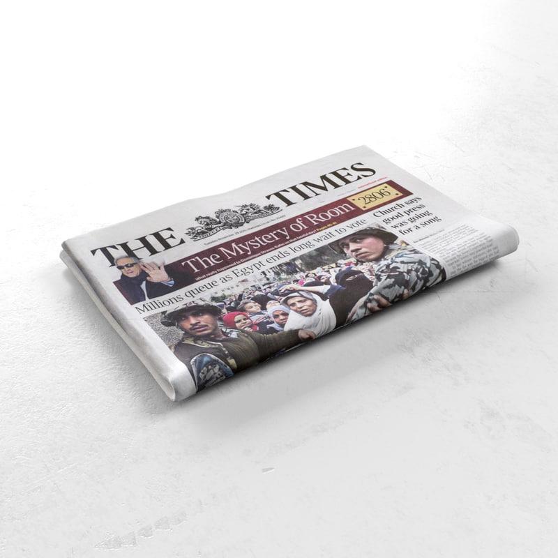 3d model newspaper folded news