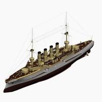 3d model armored cruiser scharnhorst class