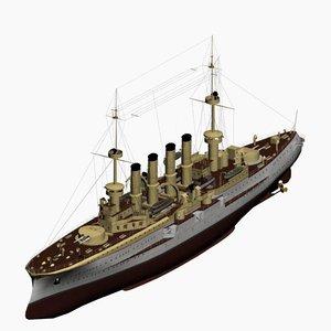 armored cruiser roon class 3d model