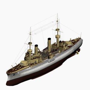 armored cruiser fuerst bismarck 3d model