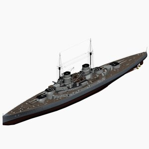 battlecruiser derfflinger class imperial 3d model