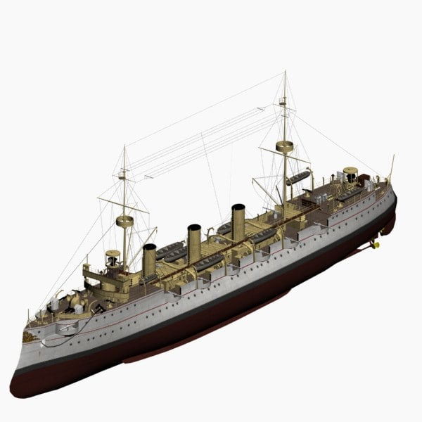 protected cruiser kaiserin augusta 3d max