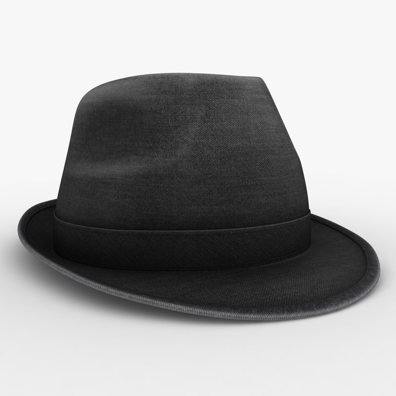 3d model fedora hat black