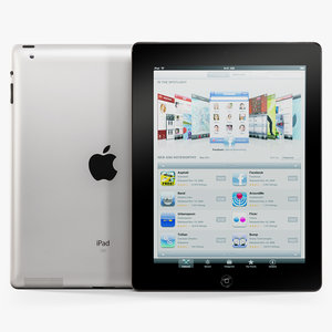 3d model of low-poly apple ipad 2