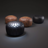 moroccan-leather-pouffe 3d max