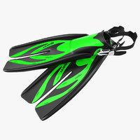 Swim Fins 3 Green 3D Model