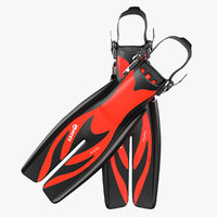 swim fins 3 red 3d max